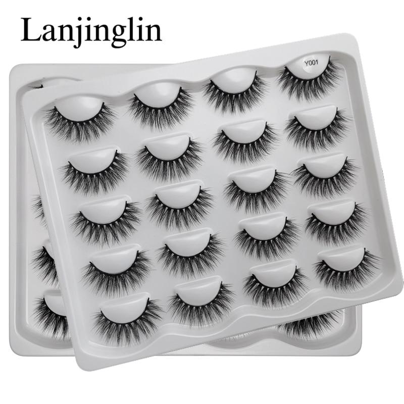 LANJINGLIN 10 Pairs Sexy Faux Mink Lashes Dramatic Reusable False Eyelashes Book Wispy Fluffy Eyelash Natural Cilios Make Up