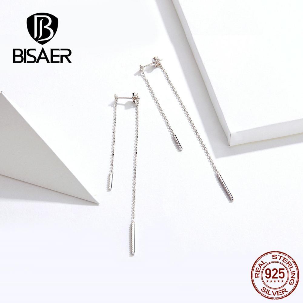 BISAER Elegant Geometry Earrings 925 Sterling Silver Link Chain Tassel Parallel Lines Earrings Fashion Jewelry For Women GAE186