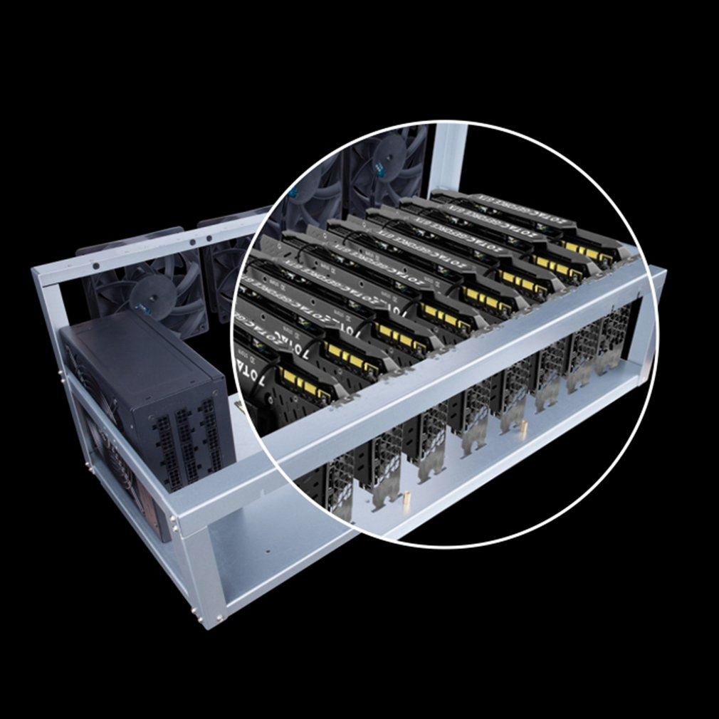 8 Graphics Card GPU Mining Machine Frame With 5 Cooling Fans USB PCI-E Cable Computer BTC LTC Coin Miner Server Case