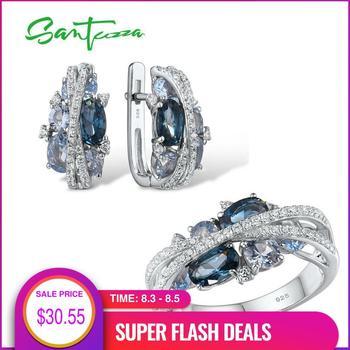 SANTUZZA Genuine 925 Silver Jewelry Set For Women Sparkling Blue Spinel Earrings Ring Set Delicate Luxury Party Fine Jewelry