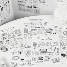 Deco Sticker Diy Scrapbooking Black Cute Diary Embrace-Series 2-Sheets/Pack Life White