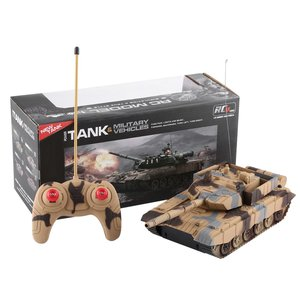 1:20 4CH Power Remote Control Tank Military Vehicle Armored Tank Battle Tanks Turret Rotation Light & Music RC Model Kids Toys