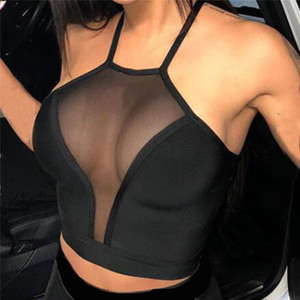 Sexy mesh crop top Summer Women Casual Tank Top Vest Blouse Sleeveless Sport Crop Tops Shirt See-through Transparent Crop Top