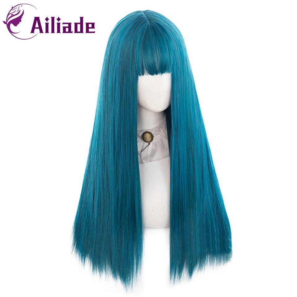 AILIADE длинные прямые синие парики натуральные синтетические волосы с челкой термостойкие парики для женщин девочек косплей лолитвечерние