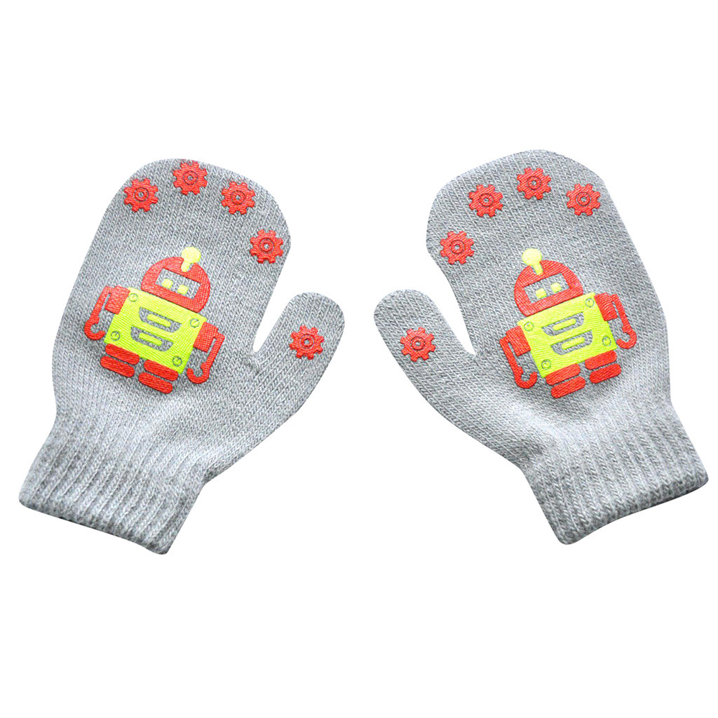 Children Boys Girls Gloves Winter Warm Robot Print Patchwork Knitted Gift Gloves