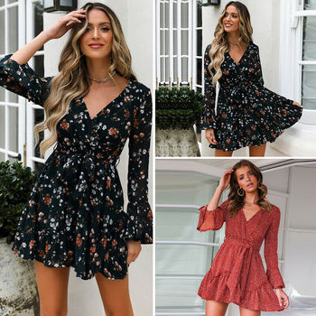hirigin Autumn Women Boho Ruffles Floral Long Sleeve Deep V-Neck Elegant Fashion Lady Party Dress