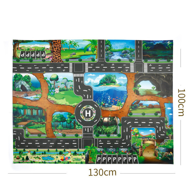 He06e54672ca641718b024e80d820b051Y 130*100CM Large City Traffic Car Park Play Mat Waterproof Non-woven Kids Car Playmat Toys for Children's Mat Boy Car