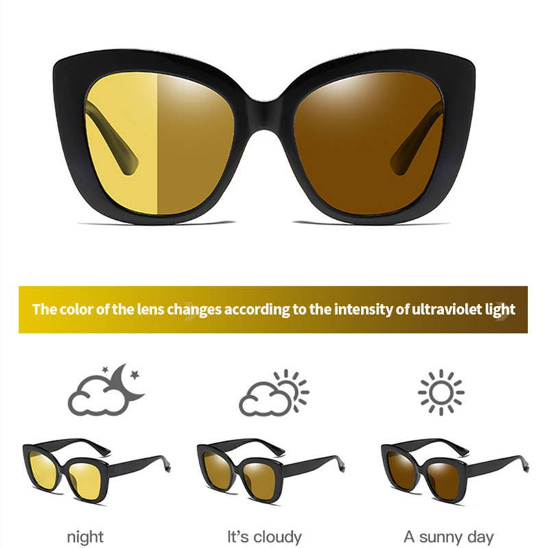 FENCHI Cat Eye Women Night Vision Glasses Polarized Yellow Sunglasses Driving Night Vision Goggles For Car Vision Nocturna