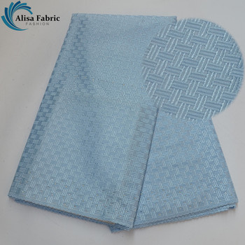 Alisa Sky Blue Design African Fashion 100% Cotton Lace Fabrics 5 Yards/pcs High Quality Polish Lace Fabrics For Home Decoration