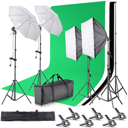 2.6M x 3M/8.5ft  10ft Background Support System and 800W 5500K Umbrellas Softbo Continuous Lighting Kit