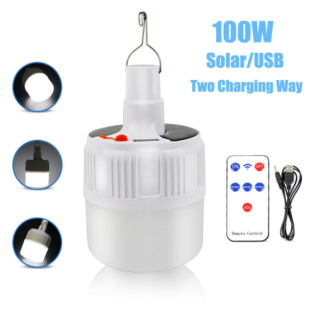 100W Solar Camping Light With USB Camping Lamp 18650 Solar USB Rechargeable LED Light Portable Lantern Outdoor Emergency Light
