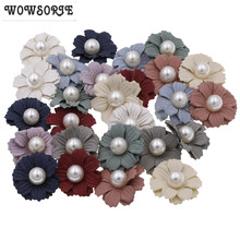 3.5cm baby Accessories Silk Rose Flower with Pearl Without headband N0 Clips DIY Wedding Decoration hair Accessories 20pcs/lot(China)