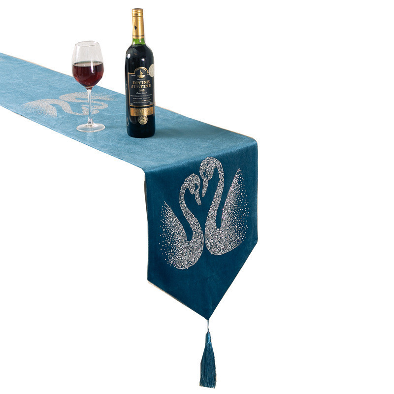 32x180cm/32x200cm Table Runner Plush Swan Hot Drilling Home Wedding Party Decor Placemat TV Cabinet Cover Table Runners Modern|Table Runners| |  - title=