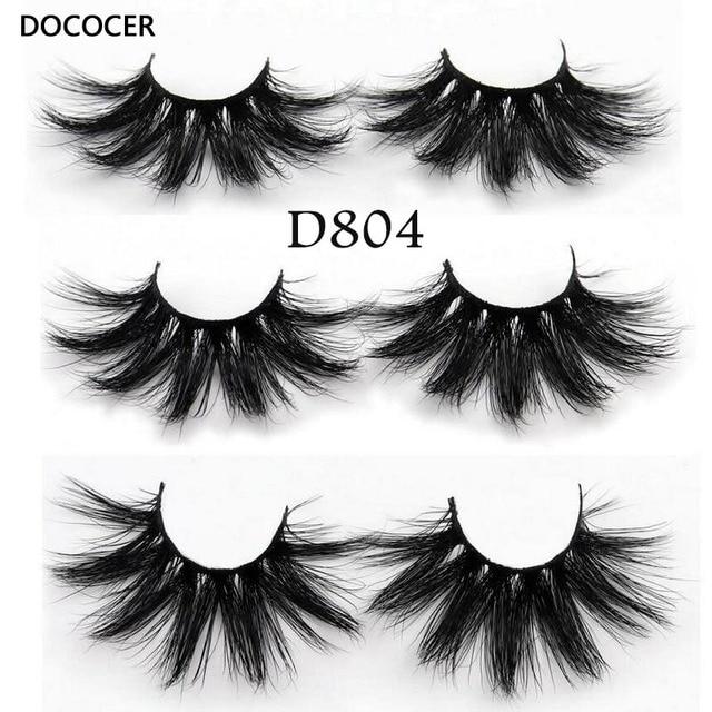 DOCOCER Lashes 3D Mink Eyelashes Handmade Mink Lashes 25mm cruelty-free Lightweight False Eyelashes  Dramatic Lashes Makeup D804