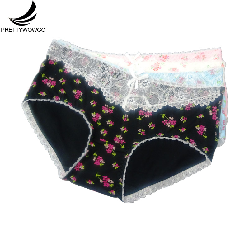 Prettywowgo 4 Pcs/lots Comfortable Mid Rise Sexy Underwear 2020 Hot Sale Lingerie 4 Color Floral Printed Panties 1063
