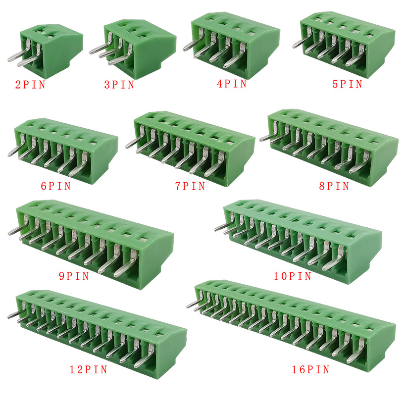 5Pcs KF128-2.54mm Splice Terminal 2/3/4/5/6/7/9/10/12/16Pin Pitch PCB Screw Terminal Block Connector PCB Mounting Adapter