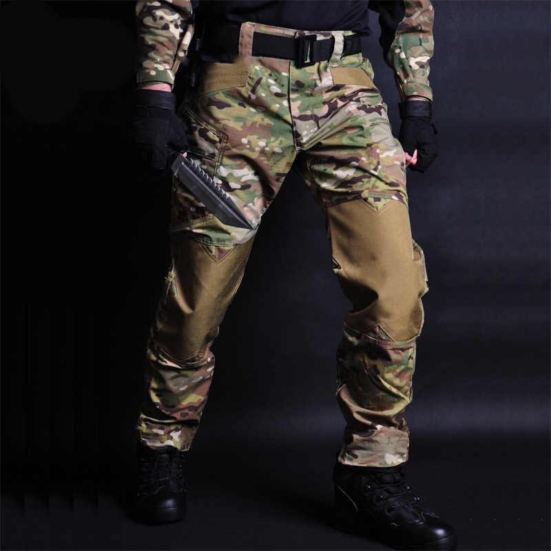 Camouflage Jogger Militaire Tactische Broek Mannen Ons Leger Combat Waterdichte Cargo Pant Multi Zakken Dragen Proof Broek
