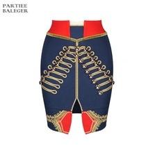 Летняя Популярная Новая Шикарная мини-юбка с цветными блочными пуговицами, бандаж знаменитости для вечеринок