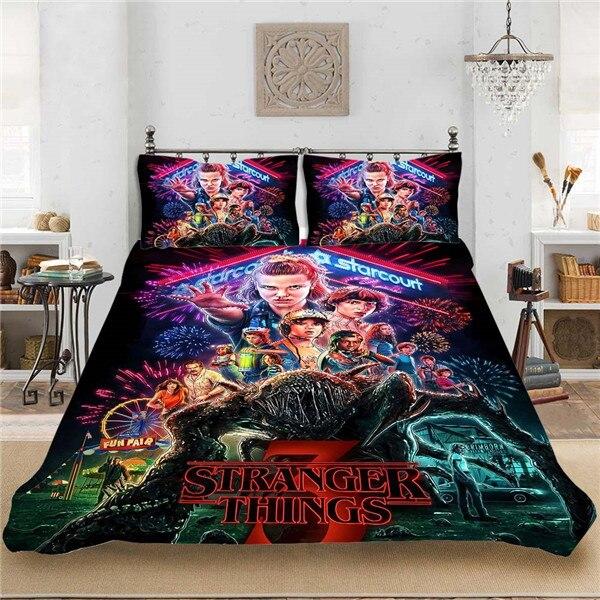 stranger things tv anime 3pcs set bedding set sheet children room bed sheet pillow case bedding set queen bedding set