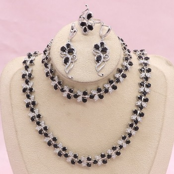 Classic 925 Silver Jewelry Sets For Women Black Zircon Earrings Bracelet Pendant Necklace Ring Bridal Jewelry 925 sterling silver bridal pearls jewelry sets women wedding jewelry with pearl zircon clips earrings ring pendant necklace set