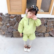 New autumn children clothing simple wind Hooded jacket+long trousers sports suit set for girls