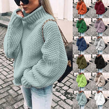 2019 Autumn Winter Thick Sweater Women Knitted Ribbed Pullover Sweater Long Sleeve Turtleneck Slim Jumper Soft Warm Pull Femme(China)