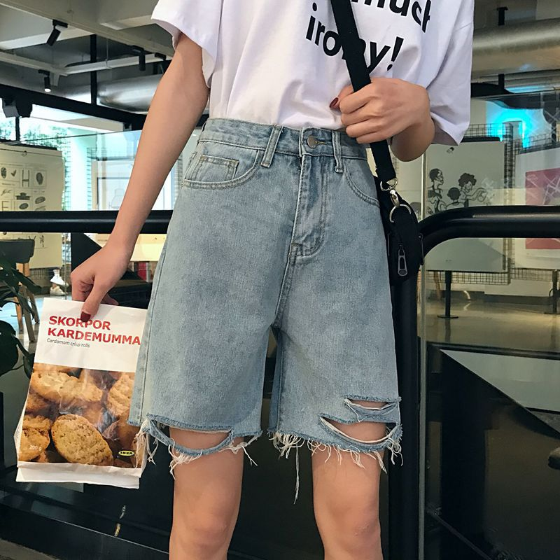Photo Shoot WOMEN'S Dress Spring Summer New Style Washing Frayed Straight-Leg Denim Shorts Women's