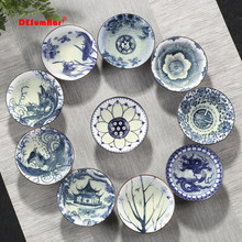 4pcs/set Blue and white porcelain tea Cup,Hand-painted Cone Teacup,Chinese style pattern teacups,Tea accessories Puer cup set(China)