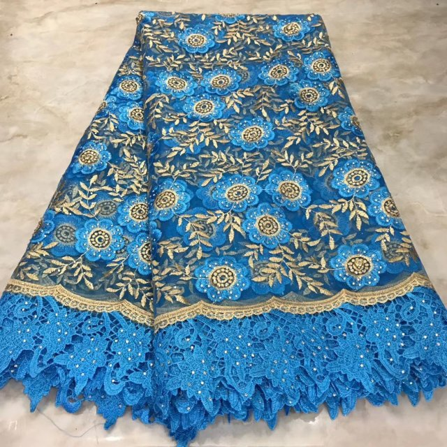 2019 Real African Tulle Lace With Stones Fabric Floral Embroidery Nigerian Ghana Sewing Lace Dress Cloth High Quality
