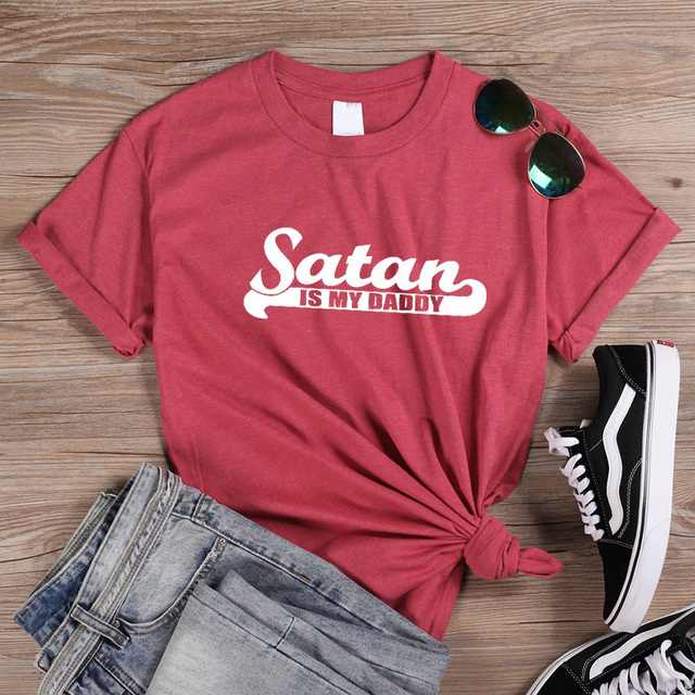 ONSEME T Shirt Women Summer Tops Satan Is My Sugar Daddy Tumblr Girls Shirt Aesthetic Clothing Sugar Baby Kawaii Harajuku Q-849 4