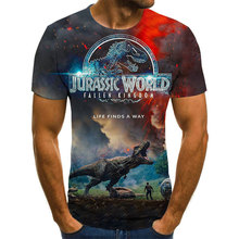 2021 Jurassic World Fallen Kingdom Cool Dinosaur Head 3D Printed T-shirt Boys and Girls Hip Hop Short Sleeve Shirt Adult Oversiz