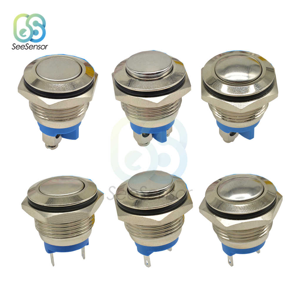 16mm Metal Push Button Switch Nickel Plated Brass Press Button Momentary Self-reset 1NO High Round/ Flat Round/ Ball Shape