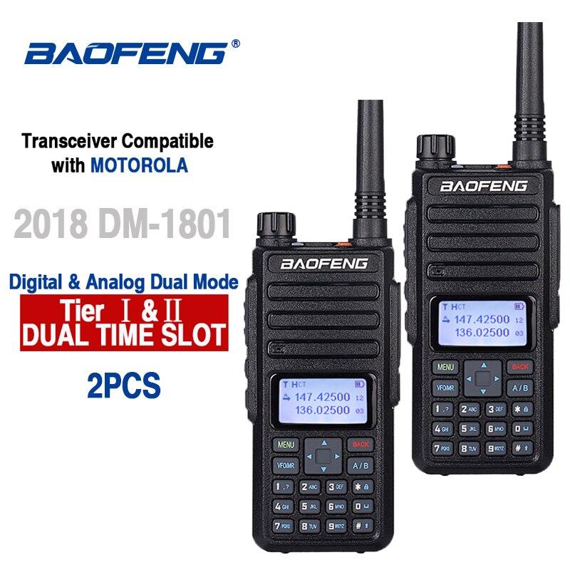 2pcs Baofeng DM-1801 Ham Radio Walkie Talkie 50Km Vhf Uhf Dual Time Slot DMR Radio Digital Analog DM 1801 Taki Walki Transceiver