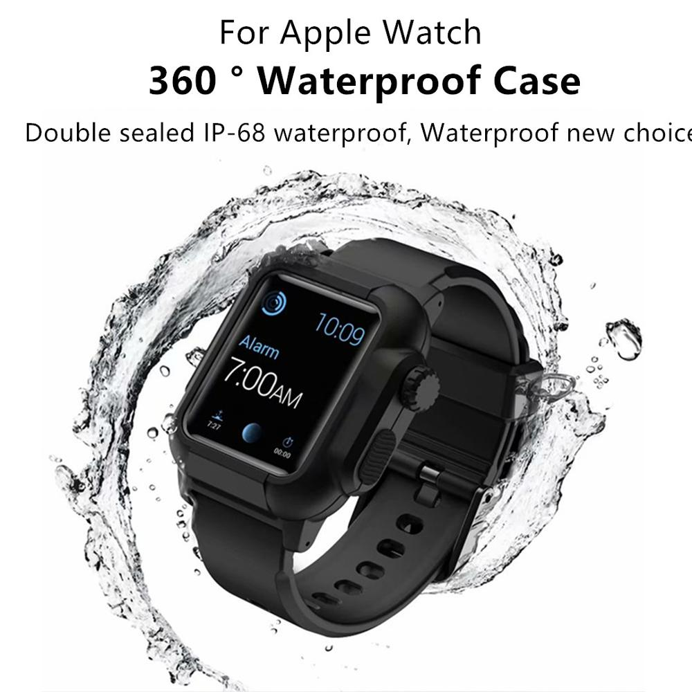 NEW Various styles of IP-68 waterproof straps For <font><b>Apple</b></font> <font><b>Watch</b></font> series <font><b>case</b></font> 5 4 3 <font><b>2</b></font> straps, suitable for iWatch 42mm / 44mm / 40mm image