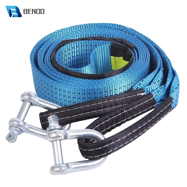 BENOO 5M/4M/3M 8T Universal Tow Rope Recovery Strap High Strength Towing Strap with Two Safety Hooks & Reflective Strip Gloves