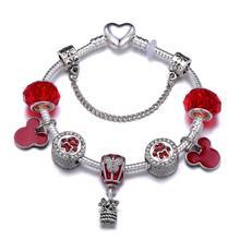 Dropshipping mickey balloon Charm Bracelet For Women Cartoon Mickey Minnie Bead Snake Chain Fashion Jewelry Gift