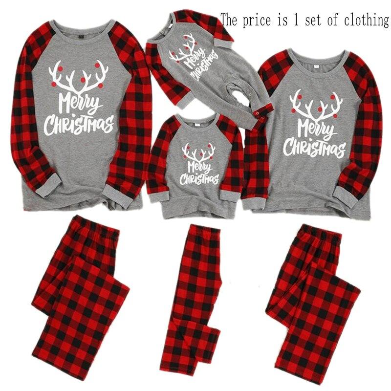 Рождественские пижамы для всей семьи, комплект рождественской одежды костюм для родителей и детей Домашняя одежда для сна новые одинаковые комплекты для семьи, для папы и мамы - Цвет: Red gray