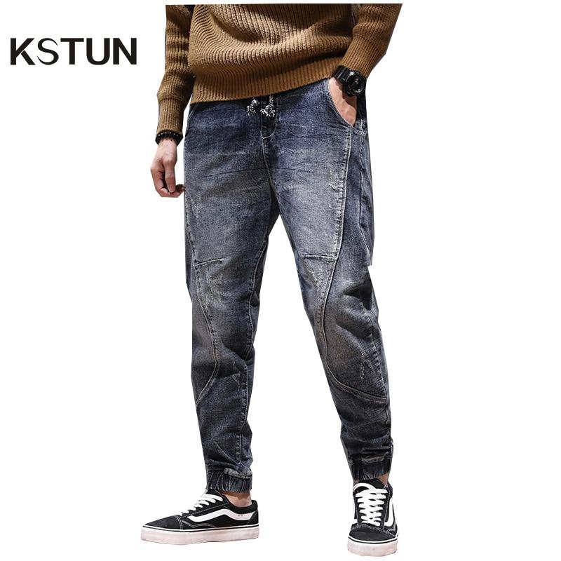 KSTUN Haren Jeans Men Motorcycle Jeans Streetwear Drawstring Elastic Waist Ruched Loose Feet Pants Outdoor Leisure Riding Jeans