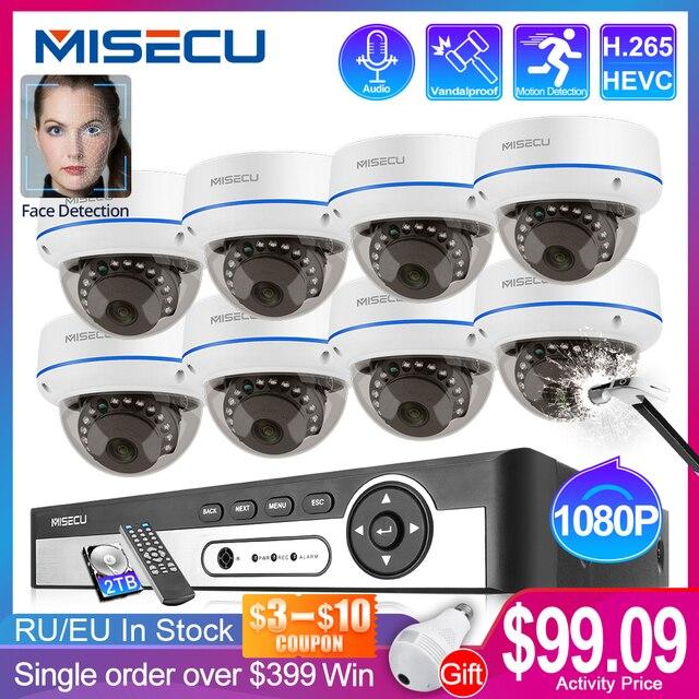 MISECU 4CH 8CH 1080P POE NVR 키트 보안 카메라 H.265CCTV 시스템 실내 오디오 기록 IP 돔 카메라 P2P 비디오 감시 세트