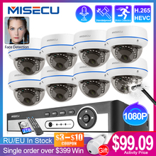 Система видеонаблюдения MISECU, купольная IP камера безопасности, 4 канала, 8 каналов, 1080P, POE, NVR, H.265CCTV