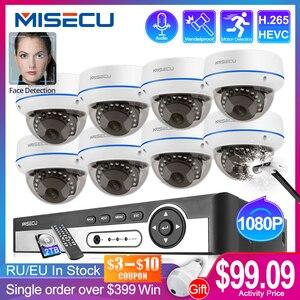 Image 1 - Misecu 4ch 8ch 1080p poe nvr kit câmera de segurança h.265cctv sistema de gravação de áudio indoor câmera ip dome p2p vídeo vigilância conjunto