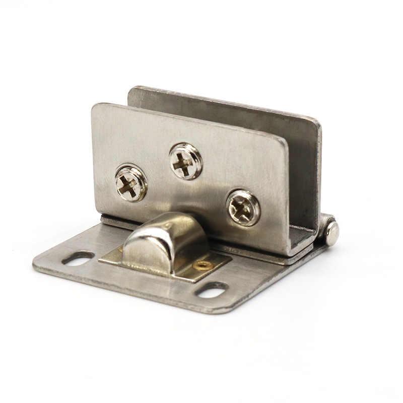 الفولاذ المقاوم للصدأ باب زجاجي المفصلي bisagra لكمة خالية 90 درجة الزجاج كليب المشابك ل خزانة لعرض المجوهرات السحابة الأجهزة