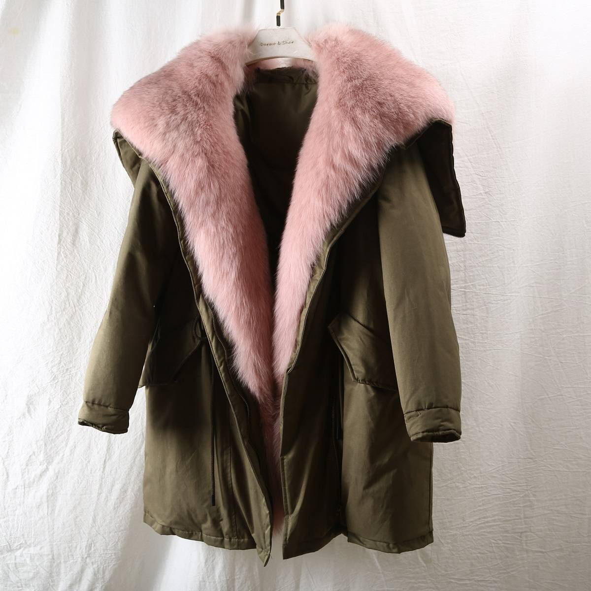 OFTBUY Real Fox Fur Duck Down Coat Winter Jacket Women Long Parka Natural Outerwear Thick Warm Detachable Oversize Streetwear