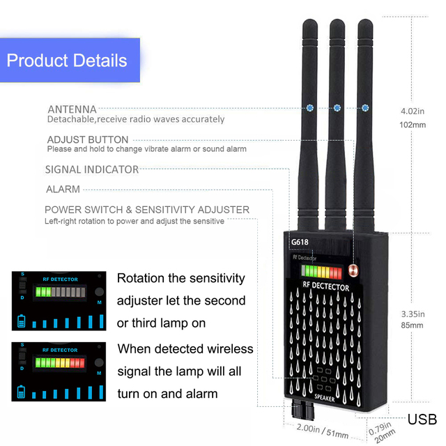 Profession RF Signal Detector Anti-Spy Tapping Anti Detector Eavesdropping Pinhole Audio Bug GSM Device Finder Anti Spy Gadgets 2