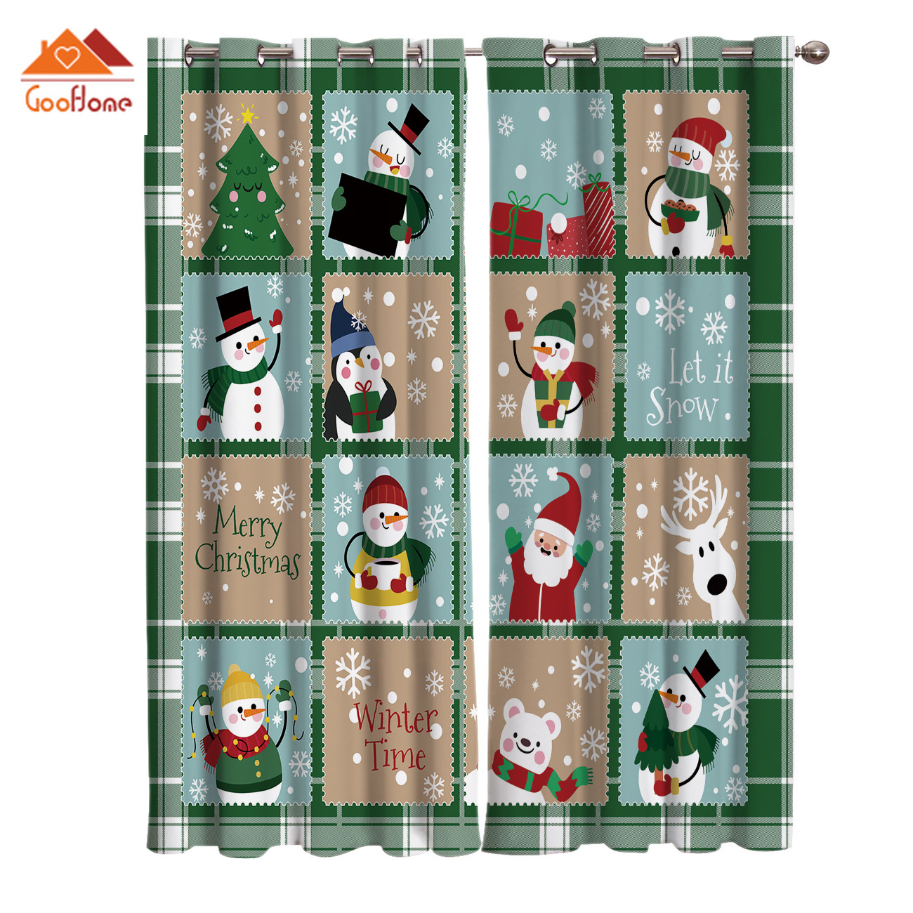 Christmas Theme Snowman And Santa Claus Pattern Window Curtains Living Room Outdoor Fabric Drapes Curtain Home Decor