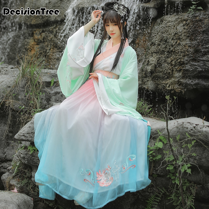 2020 Hanfu Women Chinese Dress China Ancient Fairy Princess Costume Traditional Hanfu Female Dress & Girl Tang Suit Costume