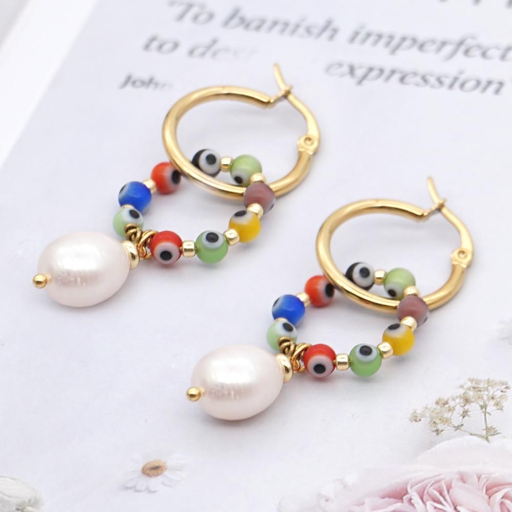 Go2boho Turkish Evil Eye Earring Beads Women Boho Jewelry Stainless Steel Hoop Natural Pearl Handmade Earrings