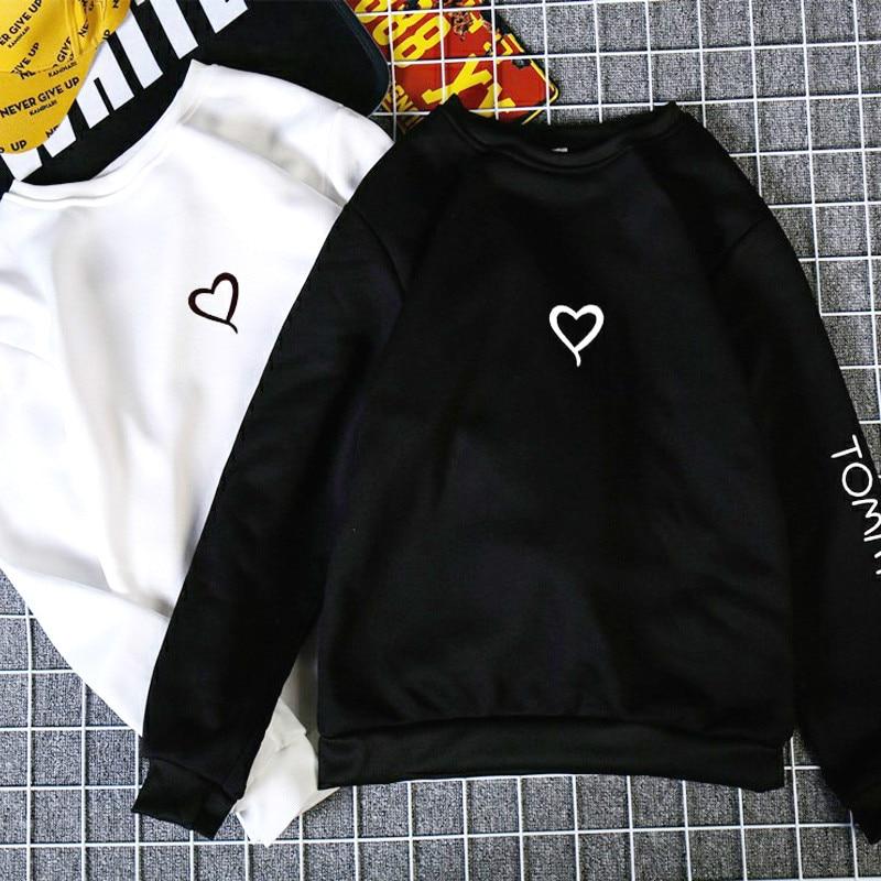 Fashion Couples Lovers Hoodies Spring Autumn Women Casual Hoodies Sweatshirts Love Heart Hoodies Print Sweatshirt Tops Female