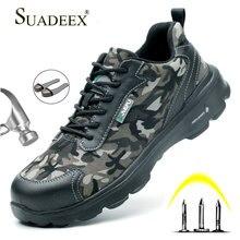 SUADEEX Men Work Safety Shoes Steel Toe Anti-smashing Male Construction Boots Outdoor zapatos de hombre