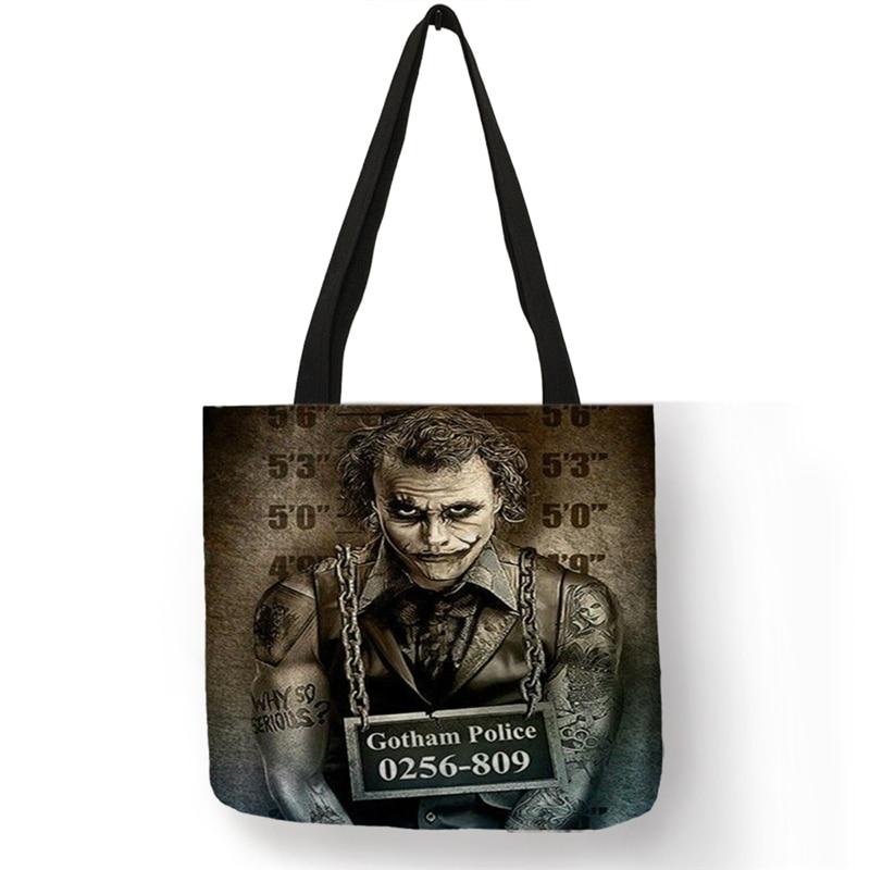 B01103 Horror Film Characters Print Shoulder Bag Women Men Handbags Large Capacity Halloween Murders Chucky Jason Printed Totes